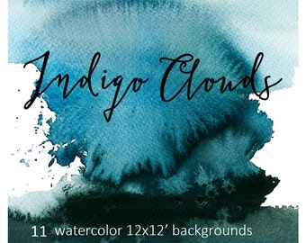 Watercolor Indigo Washes Backgrounds Digital Backdrop Design Paper Printable Blue Splashes Sky Clouds Sea Gray Turquoise Scrapbooking