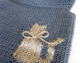 Grey Blue Wool Vest for Kids/Knit Woolen Baby/ Toddler Top