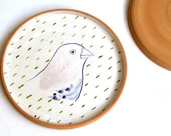 Plate green chaffinch