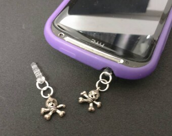 Skull and cross bone phone jack plug dangler