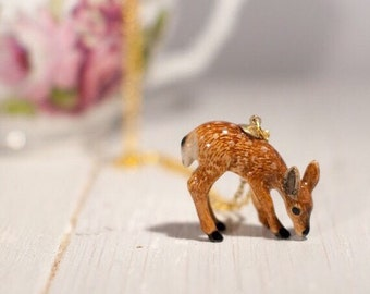 Deer Necklace, ceramic fawn Necklace, doe
