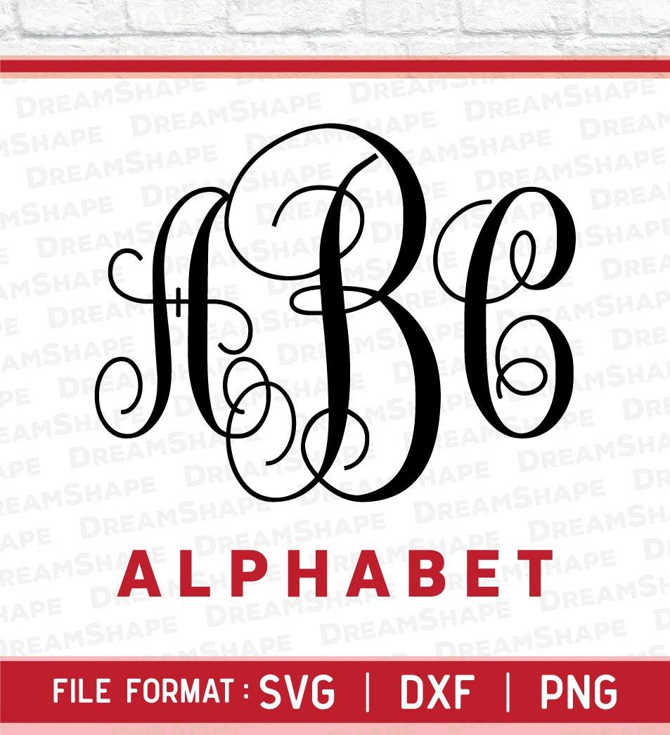 Download SVG Fonts Circle Monogram DXF, PNG Alphabets Letters ...