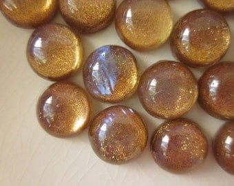 24 Vintage Gold Glitter Glass Cabochons with AB Finish, 9mm Round