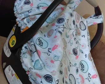 Fitted Car seat Cover, fitted carseat canopy, large fit for any car seat, MADE TO ORDER , dimple dot minky, you choose fabric