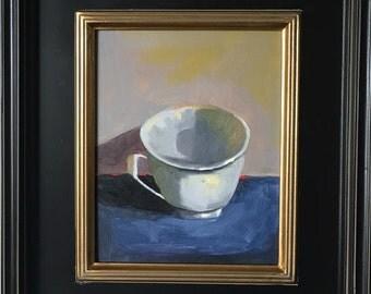 "Original 8 x 10 Oil painting ""TEA CUP"""