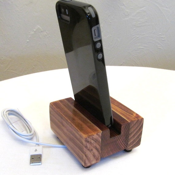 Wooden Charging Dock ~ Rustic docking stand charging station iphone dock by