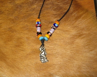 Handmade glass beads and a Valkyrie pendant necklace