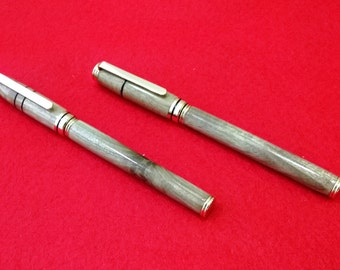 Handcrafted Puriri Traditonal Fountain Pen and Rollerball Pen Set