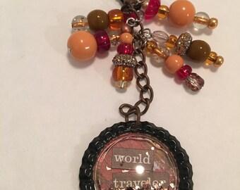 World Traveler Beaded Keychain
