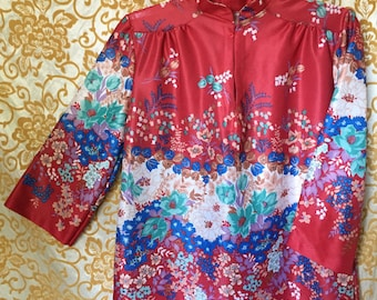 70s Red Floral Silky Small Kimono Traditional Top 3/4 Sleeve