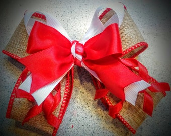 Red and white burlap bow