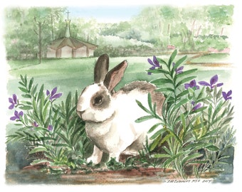 Rabbit Print from Original watercolor