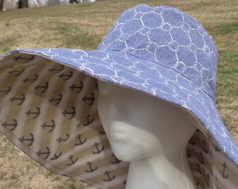 Women's Wide Brim Reversible Nautical Beach Sun Hat 1