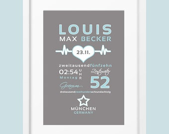 Dates of birth mural 'LOUIS' personalised art print DIN A4