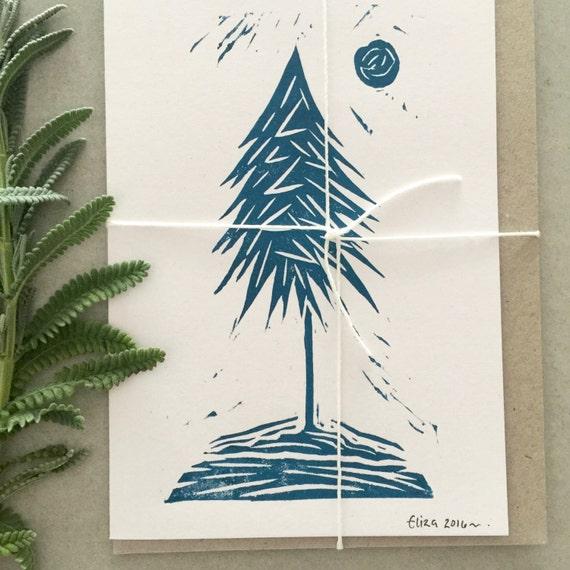 Handmade Lone Pine Tree Linoprinted Eco Card ~ Pack of 3