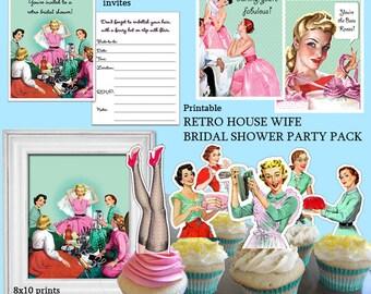 PDF Printable, 50s Retro Bridal Shower Decorations, Bundle Party Kit,  Housewife