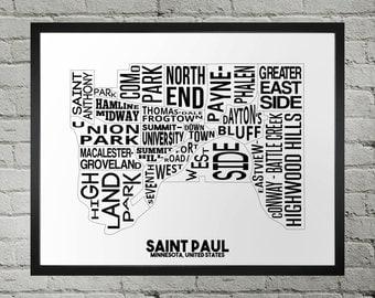 Saint Paul Minnesota Neighborhood Typography City Map Print