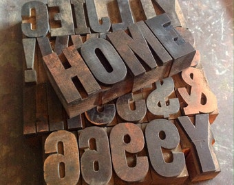 "Vintage 1-3/4"" Wooden Letter Press Block Letters, Numbers, Etc."