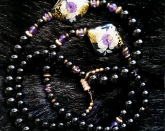 Black and Purple Beaded Necklace with Purple and Gold Floral Beads