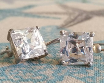 Oversize Crystal Square Jewels and Oversize Drop Hook Earrings, Beautiful