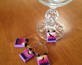 Raven Wine Charms (Set of 4)