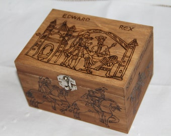 Wooden box carved with Bayeux tapestry patterns, knight, medieval, fantasy, brown
