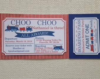 Train Invitation (12), Train Ticket Invitation, Choo Choo Invitations, Choo Choo Birthday, Train Birthday, Red and White and Blue Birthday