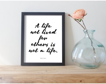 A Life Not Lived For Others Is, Purpose Quotes, Inspiration Posters