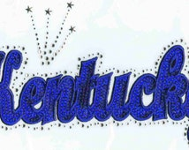 Silver or Blue Sequins Kentucky with Rhinestone outline J8333