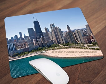 Chicago Skyline at Beach Mouse Pad, Sweet Home Chicago in Sand Mouse Pad, Office Gift, Co-Worker Gift, Boss Gift, Student Gift