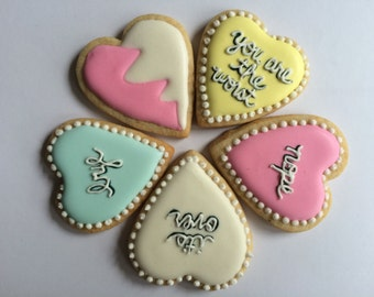 Small Sassy Conversation Heart Cookies (Set of 5)