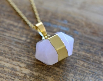 Double Point Rose Quartz Necklace - Pendant in 24K Plating w/ Stainless Steel Chain - Double Pencil Pointer Gemstone Jewelry  (S020)