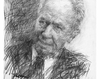 Yithak Rabin- Original Charcoal Drawing