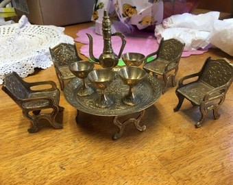 1970's vintage brass dollhouse miniature dining set