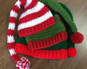 Crochet Elf Hat, Elf Hat, Green Elf Hat, Red Elf Hat, Christmas Hat, Character Hat, Red and White Elf Hat, Head Warmer, Handmade Elf Hat