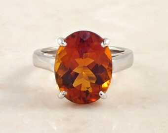 14K White Gold Citrine Ring