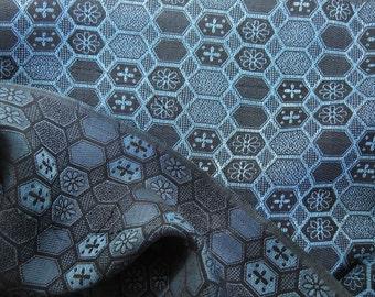 Blue hexagonal pattern, vintage Japanese kimono silk-wool blend