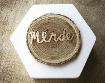 Cheeky 'merde' trinket box gold leaf