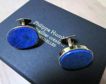 Cufflinks, 18 K yellow gold, lapis lazuli