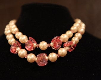 Lucite Pearls w/ Pink Pillow Case Disk Crystals Choker