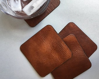 Upcycled Leather Coasters // personalized coasters // drink coasters // custom coasters // gifts for him //  sustainably sourced