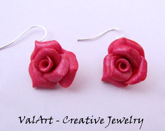 Rose drop earrings in polymer clay/Polymerclay Roses Pendant Earrings