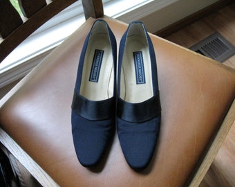 Jennifer Moore,  size 6 M, navy blue satin and cloth dress shoes.