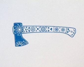 Blue ZuckerAxt, hand pot pressure from the sugar series, letterpress, printing, sugar skull, tool, axe