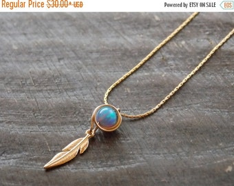 ON SALE Feather Necklace, Gold necklace, Gold filled necklace, leaf necklace, Dainty necklace, Unique necklace, opal necklace