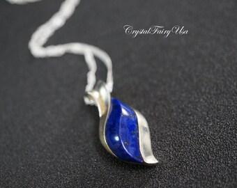 Genuine Lapis Lazuli Necklace - Sterling Silver Lapis Lazuli Necklace - September Birthstone