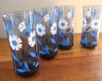 Blue & White Flower Glasses - Cobalt Blue Glass Set - Set of 4 - White and Blue Floral Libbey Glasses - Drinking / Tea Glasses