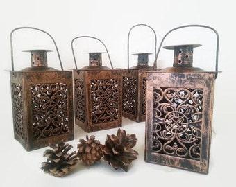 Set of 4 Moroccan candle lantern,vintage lantern,Lace Effect lantern,Wedding lantenr,Metal Candleholder,Beach Wedding,Wedding Centerpiece