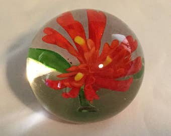 Vintage Paperweight with Red Tropical Flower