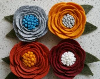 Wool felt flowers hair clips set of 4